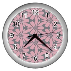 Pink Flowers Pattern Wall Clock (silver) by LalyLauraFLM