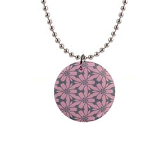 Pink Flowers Pattern 1  Button Necklace