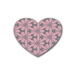 Pink Flowers Pattern Rubber Coaster (heart) by LalyLauraFLM
