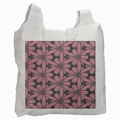 Pink Flowers Pattern Recycle Bag (two Side) by LalyLauraFLM