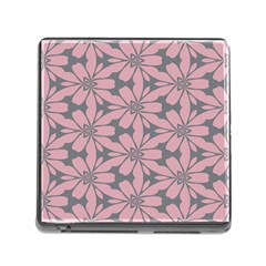 Pink Flowers Pattern Memory Card Reader (square) by LalyLauraFLM