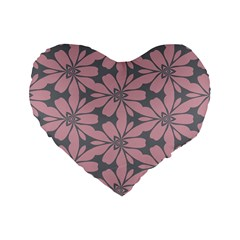 Pink Flowers Pattern Standard 16  Premium Heart Shape Cushion  by LalyLauraFLM