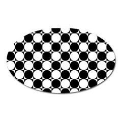 Black And White Polka Dots Magnet (oval) by ElenaIndolfiStyle