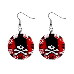 Emo Skull Mini Button Earrings by ArtistRoseanneJones