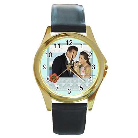 Wedding By Wedding   Round Gold Metal Watch   5ibn1bmlkgg7   Www Artscow Com Front