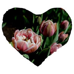 Tulips Large 19  Premium Heart Shape Cushion by anstey