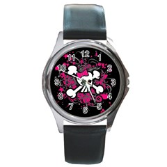 Girly Skull And Crossbones Round Leather Watch (silver Rim)