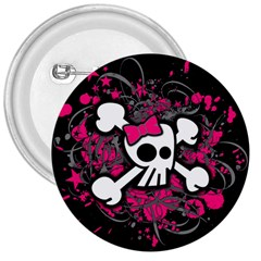 Girly Skull And Crossbones 3  Button