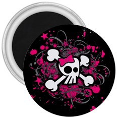 Girly Skull And Crossbones 3  Button Magnet by ArtistRoseanneJones