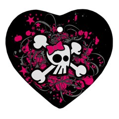 Girly Skull And Crossbones Heart Ornament