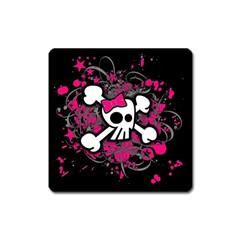 Girly Skull And Crossbones Magnet (square) by ArtistRoseanneJones