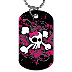 Girly Skull And Crossbones Dog Tag (two Sided)  by ArtistRoseanneJones