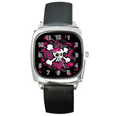 Girly Skull And Crossbones Square Leather Watch by ArtistRoseanneJones