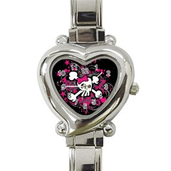 Girly Skull And Crossbones Heart Italian Charm Watch