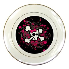 Girly Skull And Crossbones Porcelain Display Plate