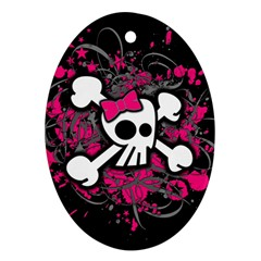 Girly Skull And Crossbones Oval Ornament (two Sides)
