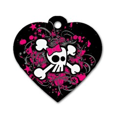 Girly Skull And Crossbones Dog Tag Heart (one Sided)  by ArtistRoseanneJones