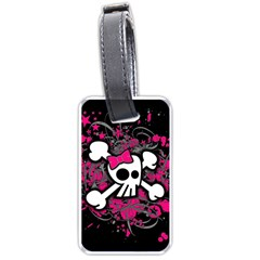 Girly Skull And Crossbones Luggage Tag (two Sides)