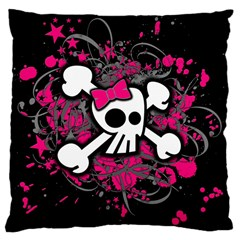 Girly Skull And Crossbones Large Cushion Case (two Sided)