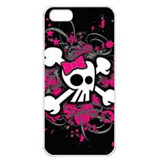 Girly Skull And Crossbones Apple Iphone 5 Seamless Case (white)