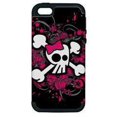 Girly Skull And Crossbones Apple Iphone 5 Hardshell Case (pc+silicone)