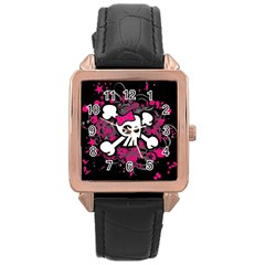 Girly Skull And Crossbones Rose Gold Leather Watch  by ArtistRoseanneJones