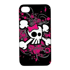 Girly Skull And Crossbones Apple Iphone 4/4s Hardshell Case With Stand