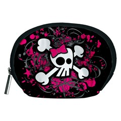 Girly Skull And Crossbones Accessory Pouch (medium) by ArtistRoseanneJones