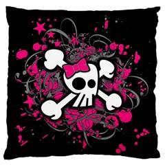 Girly Skull And Crossbones Large Flano Cushion Case (one Side)