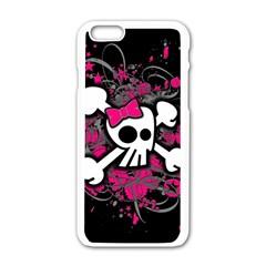 Girly Skull And Crossbones Apple Iphone 6 White Enamel Case