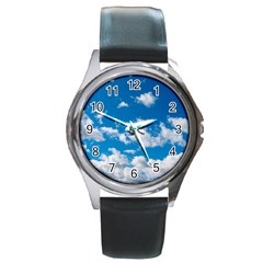 Bright Blue Sky Round Leather Watch (silver Rim) by ansteybeta