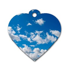 Bright Blue Sky Dog Tag Heart (one Sided)  by ansteybeta