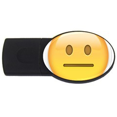 Neutral Face  2gb Usb Flash Drive (oval) by Bauble
