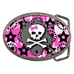 Pink Bow Skull Belt Buckle (oval) by ArtistRoseanneJones