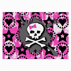 Pink Bow Skull Glasses Cloth (large, Two Sided) by ArtistRoseanneJones