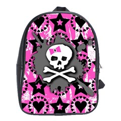 Pink Bow Skull School Bag (xl) by ArtistRoseanneJones