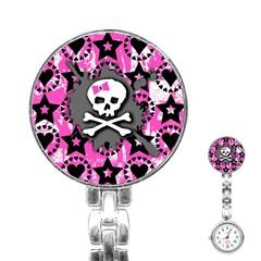 Pink Bow Skull Stainless Steel Nurses Watch by ArtistRoseanneJones