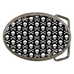 Skull And Crossbones Pattern Belt Buckle (oval)