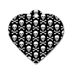 Skull And Crossbones Pattern Dog Tag Heart (one Sided)  by ArtistRoseanneJones