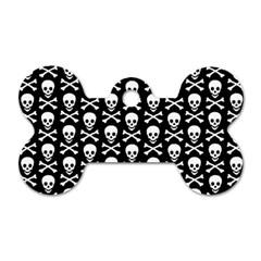 Skull And Crossbones Pattern Dog Tag Bone (two Sided) by ArtistRoseanneJones