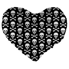 Skull And Crossbones Pattern Large 19  Premium Flano Heart Shape Cushion by ArtistRoseanneJones