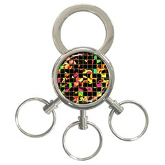Pieces In Squares 3 Ring Key Chain by LalyLauraFLM