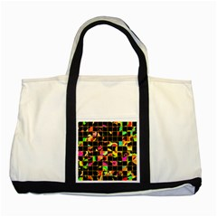 Pieces In Squares Two Tone Tote Bag by LalyLauraFLM