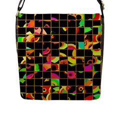 Pieces In Squares Flap Closure Messenger Bag (l) by LalyLauraFLM