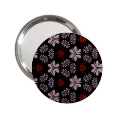 Floral Pattern On A Brown Background 2 25  Handbag Mirror by LalyLauraFLM