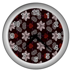 Floral Pattern On A Brown Background Wall Clock (silver) by LalyLauraFLM
