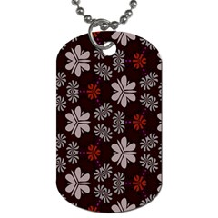 Floral pattern on a brown background Dog Tag (Two Sides) by LalyLauraFLM