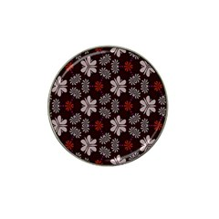 Floral Pattern On A Brown Background Hat Clip Ball Marker by LalyLauraFLM