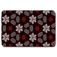 Floral Pattern On A Brown Background Large Doormat by LalyLauraFLM