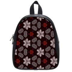 Floral Pattern On A Brown Background School Bag (small) by LalyLauraFLM